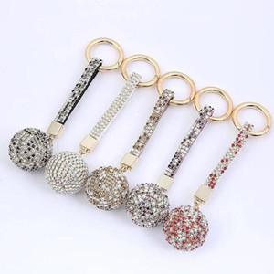 Broca de diamante Keychain brilhante Crystal Ball Key Full Ring chave do carro Buckle Chaveiro Anel Mulheres Strap Charme Bag Decoração Pingente DHC1632