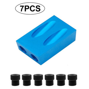 7pcs Portable Power Tools Step Drilling Bit 15° Inclined Hole Locator Kit Cross Screw Driver Durable Pockethole Jig Wooden Tool
