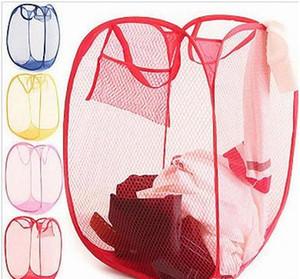 Foldable Mesh Laundry Basket Pop Up Mesh Hamper Washing Clothes Bag Storage Bin Dirty Clothes Basket Pop Up Mesh