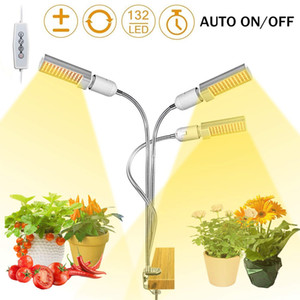 LED coltiva la luce per dell'interno delle piante 45W 68W Timing 132 LED coltiva la lampada Auto On / Off con il temporizzatore 5 livelli dimmerabili 3 modalità regolabile collo di cigno