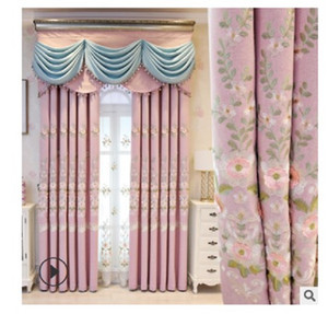 2020 Curtain fabric European style living room bedroom shading embroidery curtain window screen curtain finished product customization