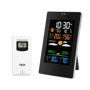 디지털 벽 시계 색상 날씨 역 온도 습도 무선 센서 표 데스크 시계 홈 장식 현대적인 디자인