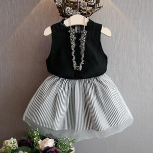 Summer Graceful Baby Kids Girl Clothing Sleeveless Blouse T-shirt+Stripe Short Skirt Set Outfits brand new August 9