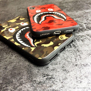 Tempered glass Camouflage Shark Apple iphone 11 pro xr X XS MAX Four Corners Anti-fall iPhone 6s 7 8 7p 8plus Silicone Case