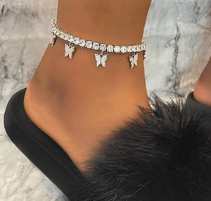 Meilleures ventes strass créatif petit papillon anklet, bijoux simples plage mode décoration pied pompon chaîne de griffe de tempérament