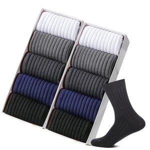 ZTOET nuovi uomini del cotone di marca dell'uomo calzini neri bianchi Business casual traspirante Stripes doppio ago maschile calze lunghe di alta qualità 200924