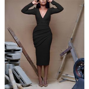 Neck Waist Down Solid Casual Dresses Women Clothes Womens Long Sleeve Skinny Dress Designer Sexy V