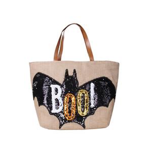 Halloween Holiday Trick or Treat Bag Jute Burlap Handbag Candy Bag Pumpkin Bat Printing