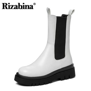 Rizabina Frauen Halb kurze Stiefel Mode starke untere Schuhe Women Casual Winterstiefel Coole Schuhe Schuhe Größe 34-43
