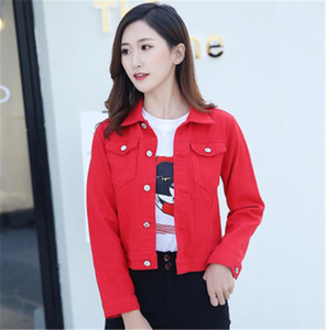 Casual Short Denim Jacket Designer Female Long Sleeve Button Lapel Neck Coat Women Solid Color Jeans Jacket Fashion Autumn Candy Color