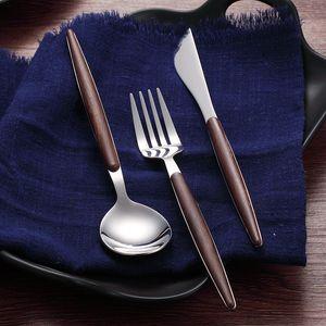 Wooden handle 304 Stainless Steel Flatware Cutlery Set With box Silver Dinnerware Tableware Fork Knife Spoon
