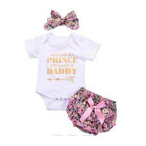 Yenidoğan Bebek Kız Romper Romper Tulum bodysuit + Pantolon Şort + Kafa Kıyafet Seti, Küçük çiçek PP pantolon, T-Shirt