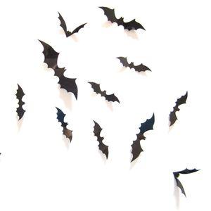 Tridimensional de pared de PVC etiquetas 12pcs de Wall Negro Bat mariposa pegatinas Niños de Halloween de habitaciones Ambiente Decoración VT1492