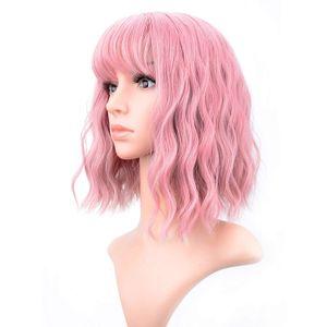 ADilys Curto Bob Wigs Pastel Wavy Wig Com Air Bangs Mulheres `S Shoulder Length Perucas Curly Wavy sintética peruca cosplay Pastel Bob Wig Colo