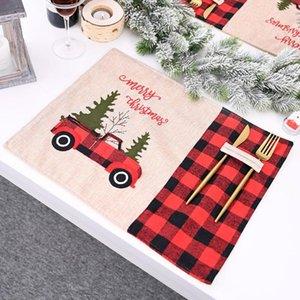 Mantel de Navidad Individuales Adornos de Navidad Rojo Negro a cuadros Mantel de coches de dibujos animados Tabla Mats Inicio Tabla de Vestir