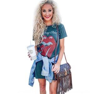 zT0pc T-shirt à manches courtes coiffe 2020 T-shirt haut d'été Coiffe femmes imprimé col rond pour les femmes