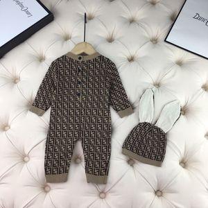 New Baby Мальчики Девочки Romper осень зима дети вязать свитер комбинезон с наборы мило шляпу младенческой одежды новорожденных детской одежды