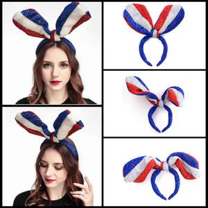 Americano do Dia da Independência hairband orelhas de coelho Bandeira Headbands Partido Mulheres Meninas americano Acessórios de cabelo Hairband Headband BH1517 TQQ