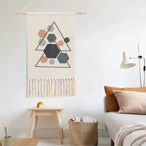 Nova mão-de malha borla tapeçaria Tapeçaria Handmade retro estilo boêmio Home Decor algodão arte nórdica pano pendurado
