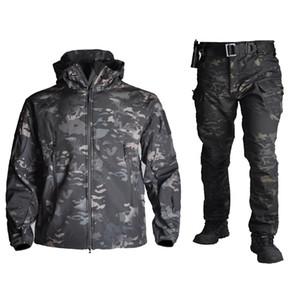 Táctica de tiburón Softshell Trajes TAD hombres de camuflaje ropa de la caza senderismo impermeable a prueba de viento chaqueta con capucha + pantalones