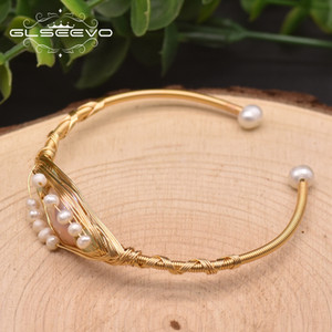 GLSEEVO Natural Fresh Water Baroque Pearl Charm Bangle Bracelet For Women Wedding Handmade Designer Bangle Female Jewelry GB0930