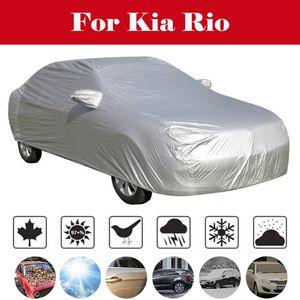Full Car Covers Snow Ice Dust Sun UV Shade Cover Foldable Light Silver Size S-XXL Auto Car Outdoor Protector Cover For Kia Rio
