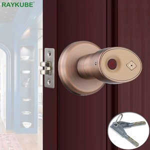 Smart Lock RAYKUBE Biometric Fingerprint Door Knob Keyless Deadbolt Home Office Keyed Zinc Alloy R-S178