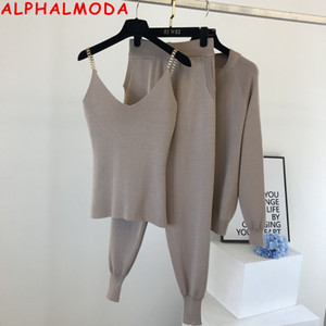 ALPHALMODA High Quality New Chain Vest Knit Zipper Cardigans Pants Women Fashion 3pcs Suit Ladies Winter Casual Comfy Transuits X0923