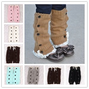 Winter child Warm Knitted Leg Sleeves Buttons Lace Gaiters Loose Wool Leg Guard Boot Cuffs Socks Girls Knit Legs Warmer Booties Sleeve E9103