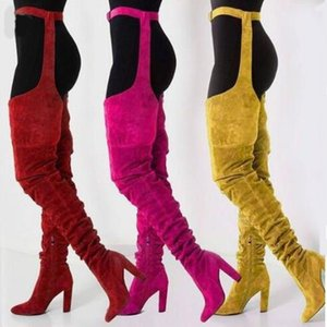 Kadınlar Yüksek Bel Kalça Boots Sivri Burun Gladyatör Kasık Extreme Uzun Çizme Ünlü Kadın Katı Flock Chunky Topuklar Ayakkabı