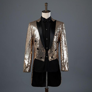 Men's sequined tuxedo stage performance dress magician's jacket night club hosts court dress men's suit