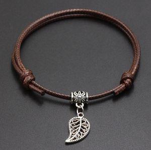 2020 New leaf charms Pendant Red Thread String Bracelet Lucky Black Coffee Handmade Rope Bracelet for Women Men Jewelry