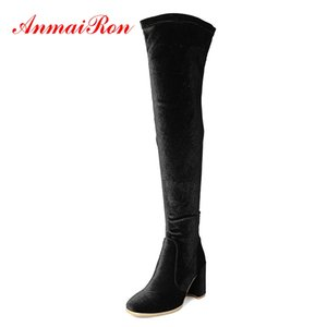 AnmaiRon bout carré Over-the-genou Slip-On Botas Mujer femme Bottes hiver Taille 34-39 ZYL1435