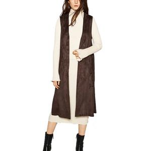 빈티지 2020 여성 스웨이드 포켓 롱 조끼 조끼 V 넥 민소매 자켓 여성 가을 브랜드 품질 갈색 검은 색 긴 조끼