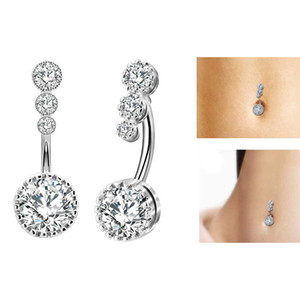 Edelstahl Diamantbauchring Allergie frei Zircon Navel Bell-Knopf-Ring-reizvolle Art und Weise Frauen Körperschmuck wird und Sand Mode