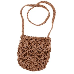 Bolsa de Bohemia del verano tejida a cielo abierto de la playa de las señoras de bolso de paja tejida hecha a mano del embrague del bolso de 3 filamentos Hierba Línea de algodón