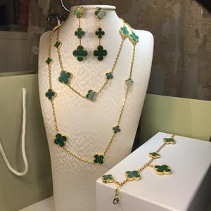 Горячее надувательство 925 серебра четыре листа цветок комплект ювелирных изделий для женщин свадебного ожерелья браслета серьги кольцо зеленый матери жемчужных раковин клевер ювелирных изделий