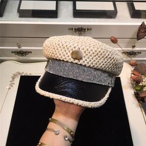 Marca de paja Militar Cap brillante diamante Caps las mujeres del diseñador Letters Rhinstone Sombreros respirables de lujo gorras Casquillo militar Enarboladas informal