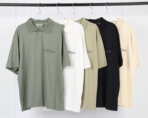 TANRI ESSENTIALS Yansıtıcı Logo Polo Oversize Tişörtlü SİS High Street Kısa Kollu Tee Çift Kadınlar Erkek Moda Gömlekler OF 20SS KORKUSU