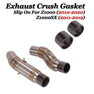 2adet Motosiklet Egzoz Boru Kaçış Crush Conta İçin Z1000 Z1000SX 2010-2020 Modifiye Orta Tüp Bağlantı Borusu Conta