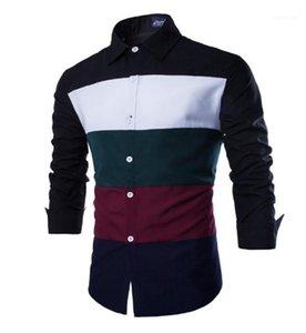 Tops Primavera Designer Mens Splice shirt Styles Mens manga comprida lapela Roupa Moda Único Breasted Homme