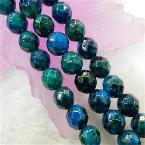 2 pièces 6 mm Azurite à Chrysocolla facettes Précieuses Pierres Rondes Perles en 15 vrac « Brin