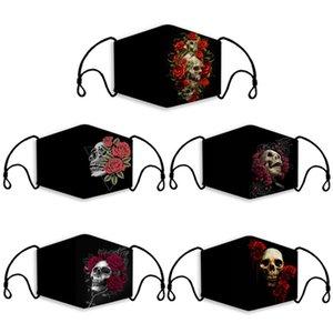 Tasarım Yüz Maskeleri Moda Cadılar Bayramı Partisi Baskılı Kafatası Rose Kapak Ağız Nefes Toz PM2.5 Yıkanabilir Yeniden kullanılabilir Festivali Maskeleri