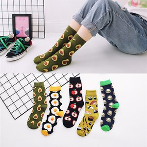 Autumn and winter hot-selling new poached egg High-barrel fashionable socks all-cotton mid-barrel socks for men and women avocado socks
