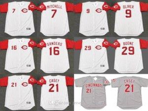 Chicago 7 Kevin Mitchell 9 JOE OLIVER 21 Sean Casey 29 BRETT BOONE 16 Reggie Sanders camiseta de béisbol cosida