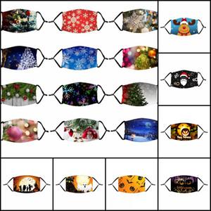 100pcs DHL 48styles Cadılar Bayramı Kabak Palyaço Maskeler Noel Noel Baba Geyik Ağacı Yetişkin Çocuklar için Filtre ile toz geçirmez Yüz Maskesi