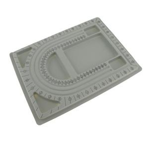 Plastique floqué perles perles Conseil Bracelet conception Plateau de bricolage Fabrication Bijoux outil Gris 33 x 24 cm