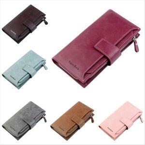 6 Color 2019 New Fashion Women Wallets Hasp Nubuck Leather Zipper Wallet Womens Long Design Purse Two Fold More Color Clutch