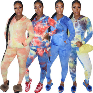 2020 Autumn Lastest Women Tracksuits Set Hooded Collar Long Sleeve With Pocket Regular Top And skinny Leggings Long Pants Tie-dye Outfits