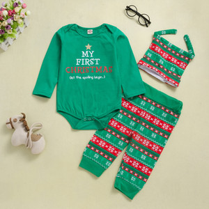 Neueste Baby-Kleidung des neuen Jahres Weihnachtskleidung Body Sets Tops + Pants + Hüte 3Pcs Sets Outfits Mode Weihnachten Element Printed Kinderkleidung